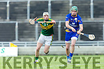 Kerry's Shane Nolan and Clare's Andrew Fahy at the Munster Hurling League match Kerry v Clare in Austin Stack Park on Sunday