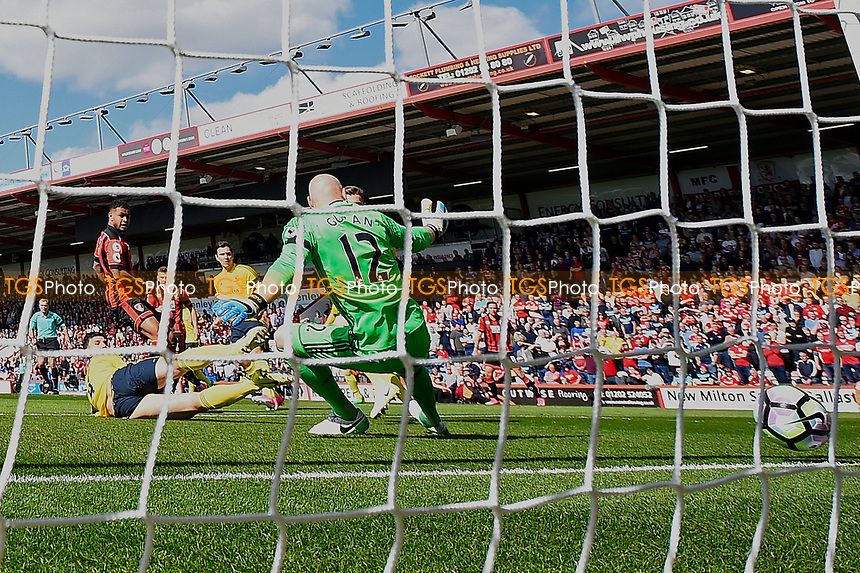 Joshua King of AFC Bournemouth left scores the first goal during AFC Bournemouth vs Middlesbrough, Premier League Football at the Vitality Stadium on 22nd April 2017