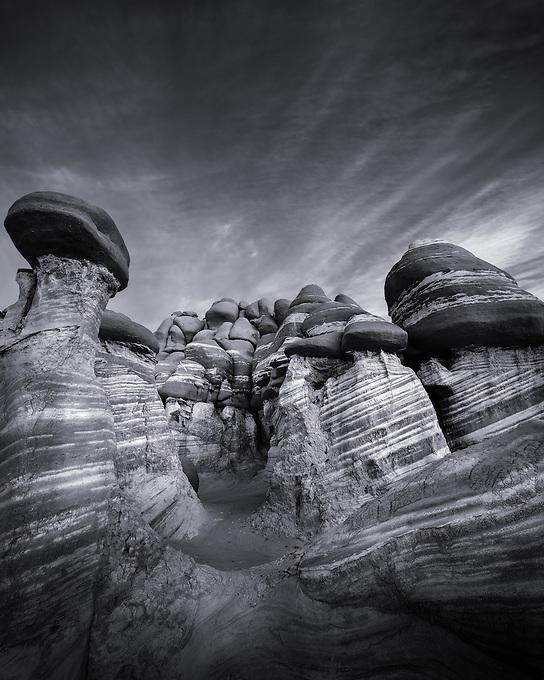 A unique landscape in a remote region of the Arizona desert, photographed at sunrise.