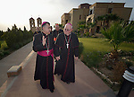 Bishop William Murphy of Rockville Centre (right) walks with Archbishop Bashar Matti Warda at St. Peter's Seminary in Ankawa, Iraq, on April 9, 2016. Murphy and Cardinal Timothy Dolan, both board members of the Catholic Near East Welfare Association, are in Iraqi Kurdistan to visit with Christians and others displaced by ISIS. Warda heads the Chaldean Catholic Archdiocese of Erbil, and has been a staunch champion for the displaced Christians and others living in his archdiocese.