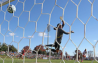 Maryland goalie Rachelle Beanlands (33) watches as the ball goes into the net during the first round of the ACC Tournament against Virginia Sunday at Klockner Stadium.  Virginia defeated Maryland 6-1. Photo/The Daily Progress/Andrew Shurtleff