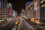 Light Trails on busy street in Shinjuku, Tokyo, Japan