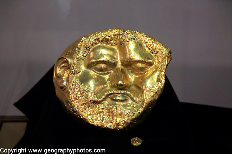 Gold mask of a Thracian king on display in Kazanlak museum, Bulgaria