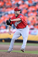 Frisco Rough Riders pitcher Ryan Rodebaugh (20) delivers a pitch during a game against the Springfield Cardinals on June 1, 2014 at Hammons Field in Springfield, Missouri.  Springfield defeated Frisco 3-2.  (Mike Janes/Four Seam Images)