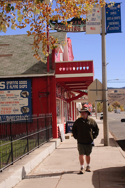 Man walking in Downtown Bridgeport, California
