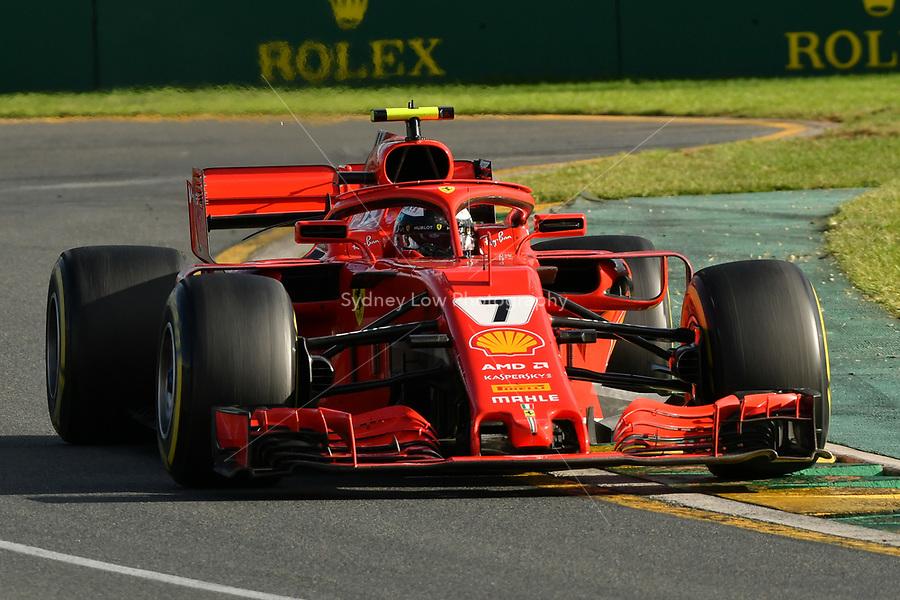 March 25, 2018: Kimi Raikkonen (FIN) #7 from the Scuderia Ferrari team rounds turn two of the 2018 Australian Formula One Grand Prix at Albert Park, Melbourne, Australia. Photo Sydney Low