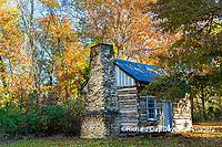 63895-16609 Cabin at Log Cabin Village in fall Kinmundy IL