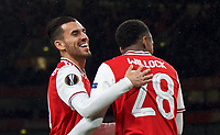 Dani Ceballos (on loan from Real Madrid) congratulates goalscorer Joe Willock of Arsenal during the UEFA Europa League match between Arsenal and Standard Liege at the Emirates Stadium, London, England on 3 October 2019. Photo by Andrew Aleks.
