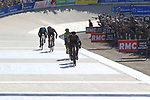 Greg Van Avermaet (BEL) BMC Racing outsprints Zdenek Stybar (CZE) Quick-Step Floors and Sebastian Langeveld (NED) Cannondale-Drapac to win in the old Velodrome in Roubaix at the end of the 115th edition of the Paris-Roubaix 2017 race running 257km Compiegne to Roubaix, France. 9th April 2017.<br /> Picture: Eoin Clarke | Cyclefile<br /> <br /> <br /> All photos usage must carry mandatory copyright credit (&copy; Cyclefile | Eoin Clarke)