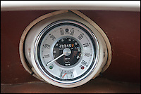BNPS.co.uk (01202) 558833<br /> Picture: LauraJones/BNPS<br /> <br /> The speedometer.<br /> <br /> A classic Mini pickup truck is being sold for only the second time in its life with a pre-sale estimate of &pound;13,000.<br /> <br /> The 1961 open back vehicle has been owned by the same family since its was bought new by farmer Minnie Gould who used it to transport calves to market. <br /> <br /> It was given a new lease of life 30 years later by her son Fred who had it recommissioned and resprayed.