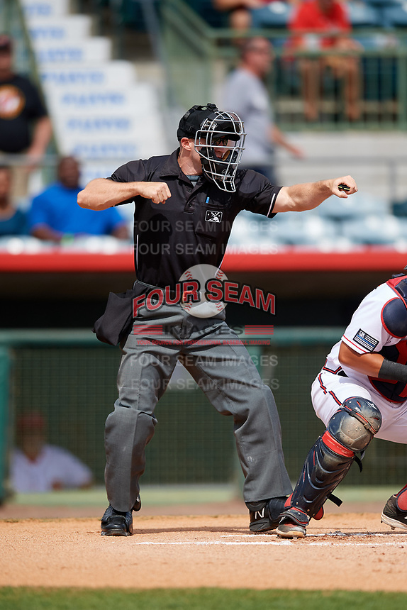 Home plate umpire Mark Stewart calls a batter out on strikes during a game between the Daytona Tortugas and the Florida Fire Frogs on April 8, 2018 at Osceola County Stadium in Kissimmee, Florida.  Daytona defeated Florida 2-1.  (Mike Janes/Four Seam Images)