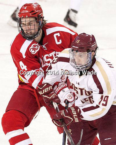 Patrick MacGregor (BU - 4), Ryan Fitzgerald (BC - 19) - The Boston College Eagles defeated the visiting Boston University Terriers 6-4 (EN) on Friday, January 17, 2014, at Kelley Rink in Conte Forum in Chestnut Hill, Massachusetts.