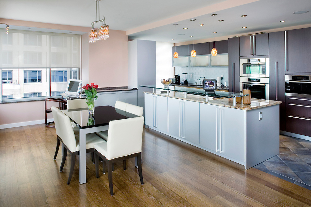 Kitchen with Automated Shades