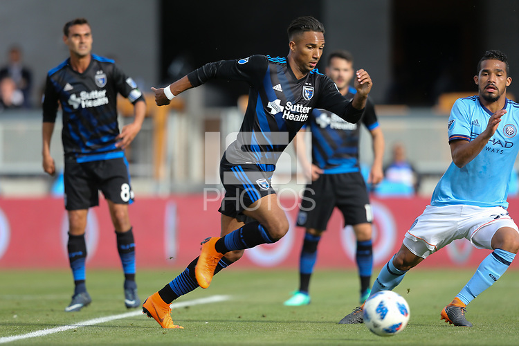 San Jose, CA - Saturday March 31, 2018: Danny Hoesen during a Major League Soccer (MLS) match between the San Jose Earthquakes and New York City FC at Avaya Stadium.