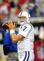 Sept. 27, 2009; Glendale, AZ, USA; Indianapolis Colts quarterback Curtis Painter against the Arizona Cardinals at University of Phoenix Stadium. Indianapolis defeated Arizona 31-10. Mandatory Credit: Mark J. Rebilas-