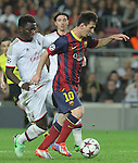 06.11.2013 Barcelona, Spain. Uefa Champions League Matchday 4 group H. Picture show Leo Messi in action during game between FC Barcelona against AC Milan at Camp Nou