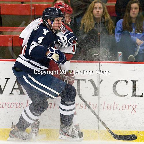 Rob O'Gara (Yale - 4), Alex Fallstrom (Harvard - 16) - The Yale University Bulldogs defeated the Harvard University Crimson 5-1 on Saturday, November 3, 2012, at Bright Hockey Center in Boston, Massachusetts.
