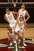 10 October 2006: Seniors Kristen Newlin, Brooke Smith, Clare Bodensteiner, and Markisha Coleman on picture day at Maples Pavilion in Stanford, CA.
