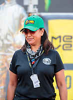 Sep 29, 2019; Madison, IL, USA; Monica Salinas, wife of NHRA top fuel driver Mike Salinas during the Midwest Nationals at World Wide Technology Raceway. Mandatory Credit: Mark J. Rebilas-USA TODAY Sports