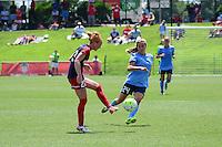 Boyds, MD - Sunday July 31, 2016: Victoria Huster, Kelly Conheeney during a regular season National Women's Soccer League (NWSL) match between the Washington Spirit and Sky Blue FC at Maureen Hendricks Field, Maryland SoccerPlex.