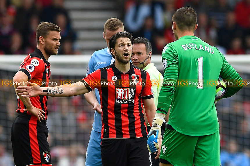 Harry Arter of AFC Bournemouth has words with Jack Butland of Stoke City during AFC Bournemouth vs Stoke City, Premier League Football at the Vitality Stadium on 6th May 2017