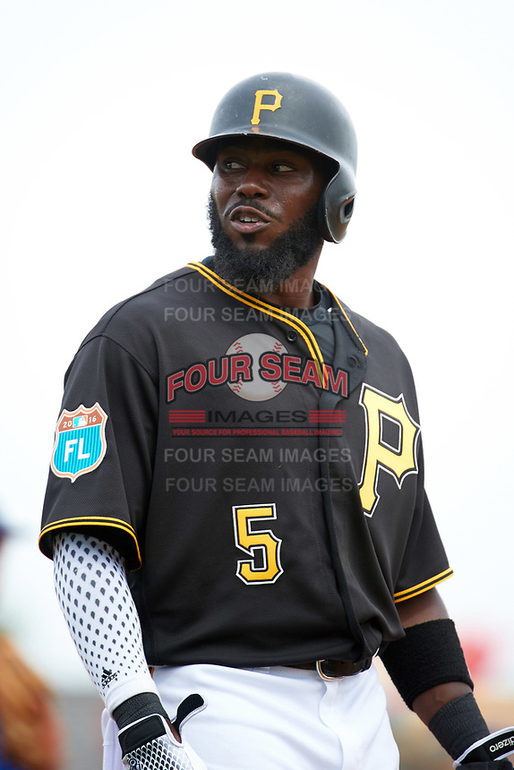 Pittsburgh Pirates second baseman Josh Harrison (5) during a Spring Training game against the Toronto Blue Jays  on March 3, 2016 at McKechnie Field in Bradenton, Florida.  Toronto defeated Pittsburgh 10-8.  (Mike Janes/Four Seam Images)