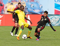 San Francisco, California - Saturday March 17, 2012: Emile Paul Tendeng and Javier Aquino in action during the Mexico vs Senegal U23 in final Olympic qualifying tuneup. Mexico defeated Senegal 2-1