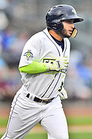Southern Division second baseman Michael Paez (3) of the Columbia Fireflies runs to first base during the South Atlantic League All Star Game at Spirit Communications Park on June 20, 2017 in Columbia, South Carolina. The game ended in a tie 3-3 after seven innings. (Tony Farlow/Four Seam Images)