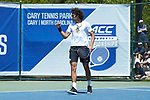 Skander Mansouri of the Wake Forest Demon Deacons celebrates winning a point during his match at #1 doubles against the North Carolina Tar Heels at the 2018 ACC Men's Tennis Championship at the Cary Tennis Center on April 29, 2018 in Cary, North Carolina.  The Demon Deacons defeated the Tar Heels 4-0.  (Brian Westerholt/Sports On Film)