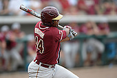 Florida State Seminoles designated hitter / relief pitcher Jameis Winston (44) at bat during a game against the South Florida Bulls on March 5, 2014 at Red McEwen Field in Tampa, Florida.  Florida State defeated South Florida 4-1.  (Copyright Mike Janes Photography)