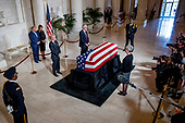 President Donald Trump and first lady Melania Trump pay their respects as the late Supreme Court Justice John Paul Stevens lies in repose in the Great Hall of the Supreme Court in Washington, Monday, July 22, 2019. <br /> Credit: Andrew Harnik / Pool via CNP