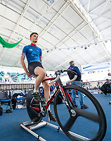 Picture by Allan McKenzie/SWpix.com - 06/01/2018 - Track Cycling - Revolution Champion Series 2017 - Round 3 - HSBC UK National Cycling Centre, Manchester, England - Charlie Kelly warms up, HSBC UK, Kalas, Team Inspired, branding.