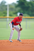 GCL Twins shortstop Victor Tademo (43) during the second game of a doubleheader against the GCL Rays on July 18, 2017 at Charlotte Sports Park in Port Charlotte, Florida.  GCL Twins defeated the GCL Rays 4-2 after the game was postponed in the second inning to the following day at Charlotte Sports Park in Port Charlotte, Florida.  (Mike Janes/Four Seam Images)