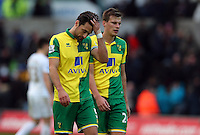 Russell Martin of Norwich City shows a look of dejection at full time during the Barclays Premier League match between Swansea City and Norwich City played at The Liberty Stadium, Swansea on March 5th 2016