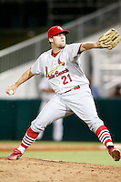 July 13, 2009:  Pitcher Casey Mulligan of the Palm Beach Cardinals delivers a pitch during a game at Hammond Stadium in Ft. Myers, FL.  Palm Beach is the Florida State League High-A affiliate of the St. Louis Cardinals.  Photo By Mike Janes/Four Seam Images