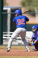 Chicago Cubs first baseman Yohan Matos (92) during an Instructional League intersquad game on October 9, 2014 at Cubs Park Complex in Mesa, Arizona.  (Mike Janes/Four Seam Images)