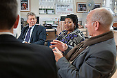 Don Foster, Minister for Communities, Chair Angela Singhate and PDT Director Neil Johnson during a visit to Queen's Park Forum at the Beethoven Centre.