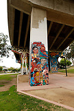 USA, California, San Diego, street art painted on the bridge above Chicano Park