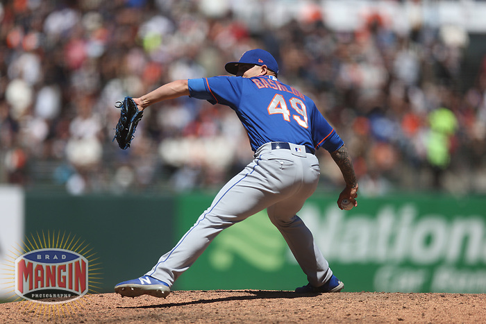 SAN FRANCISCO, CA - JULY 20:  Tyler Bashlor #49 of the New York Mets pitches against the San Francisco Giants during the game at Oracle Park on Saturday, July 20, 2019 in San Francisco, California. (Photo by Brad Mangin)