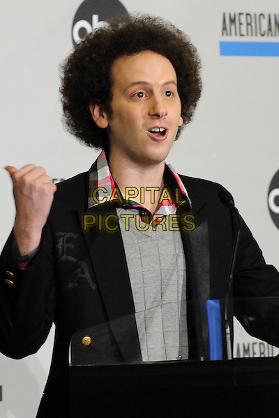 Josh Sussman.2011 American Music Awards Nominee Press Conference held at the JW Marriott LA Live Hotel, Los Angeles, California, USA..October 11th, 2011.half length grey gray top black suit jacket hands arms mouth open.CAP/ADM/BP.©Byron Purvis/AdMedia/Capital Pictures.