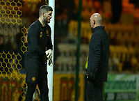 4th March 2020; Almondvale Stadium, Livingston, West Lothian, Scotland; Scottish Premiership Football, Livingston versus Celtic; Fraser Forster of Celtic gets advice from goalkeeper coach Stevie Woods during the warm up