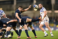Luke McGrath of Leinster Rugby box-kicks the ball. Heineken Champions Cup match, between Leinster Rugby and Bath Rugby on December 15, 2018 at the Aviva Stadium in Dublin, Republic of Ireland. Photo by: Patrick Khachfe / Onside Images