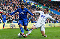 Loic Damour of Cardiff City is tackled by Craig Gardner of Birmingham City during the Sky Bet Championship match between Cardiff City and Birmingham City at the Cardiff City Stadium, Wales, UK. Saturday 10 March 2018