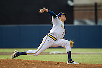Michigan Wolverines closer Jackson Lamb (10) delivers a pitch to the plate against the Toledo Rockets on April 20, 2016 at Ray Fisher Stadium in Ann Arbor, Michigan. Michigan defeated Bowling Green 2-1. (Andrew Woolley/Four Seam Images)