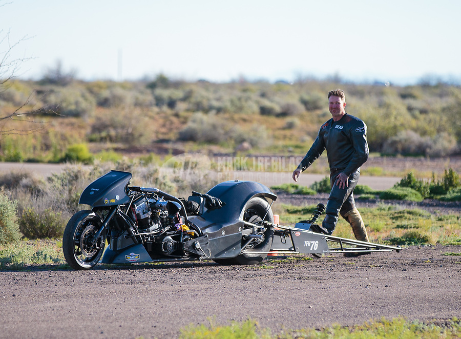 Feb 24, 2019; Chandler, AZ, USA; NHRA top fuel Harley Davidson nitro motorcycle rider Beau Layne after winning the Arizona Nationals at Wild Horse Pass Motorsports Park. Mandatory Credit: Mark J. Rebilas-USA TODAY Sports