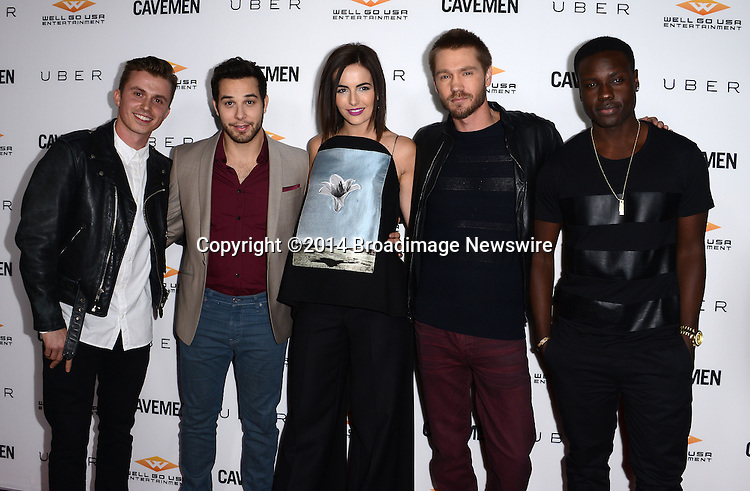 Pictured: Kenny Wormalnd, Skylar Astin, Camilla Belle, Chad Michael Murray, Dayo Okeniyi<br /> Mandatory Credit: Luiz Martinez / Broadimage<br /> CAVEMAN Los Angeles Premiere<br /> <br /> 2/5/14, Hollywood, California, United States of America<br /> Reference: 020514_LMLA_BDG_037<br /> <br /> sales@broadimage.com<br /> Bus: (310) 301-1027<br /> Fax: (646) 827-9134<br /> http://www.broadimage.com