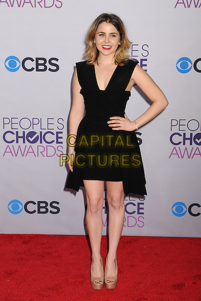 Mae Whitman.People's Choice Awards 2013 - Arrivals held at Nokia Theatre L.A. Live, Los Angeles, California, USA..January 9th, 2013.full length black dress beige peep toe platform shoes hand on hip.CAP/ADM/BP.©Byron Purvis/AdMedia/Capital Pictures.