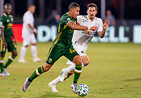 13th July 2020, Orlando, Florida, USA;  Portland Timbers midfielder Marvin Loria (44) runs with the ball during the MLS Is Back Tournament between the LA Galaxy versus Portland Timbers on July 13, 2020 at the ESPN Wide World of Sports, Orlando FL.