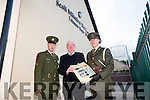 Irish defence forces Gunner Noel Lynch and Lt Denis Sheahan were welcomed to Scoil Mhuire de Lourdes Boys School Lixnaw by Principal Sean B Mac Amhlaoibh on Thursday when they visited the school to present the Irish Tri Colour and Proclamation