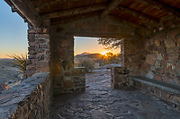 We capture the sunset rays in the Fort Davis State Park in the old rock building overlook.  Another great Texas landscape in the Fort Davis mountains.